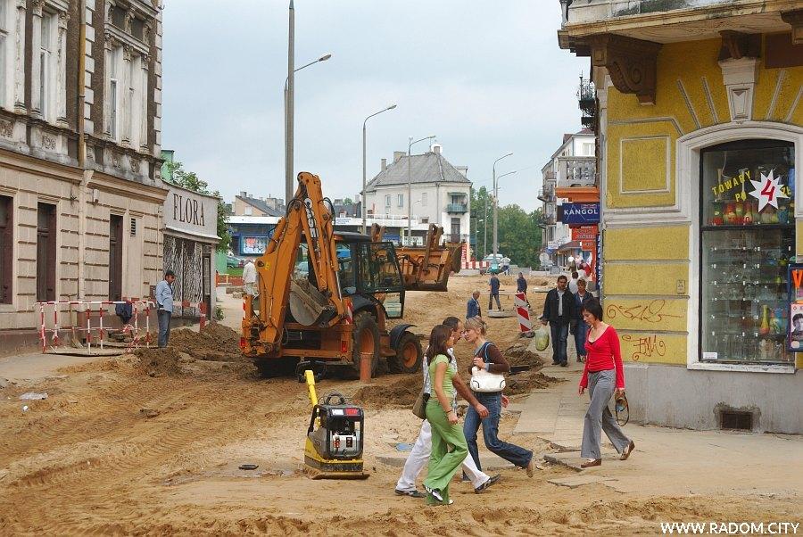 Radom. Ulica Witolda w czasie remontu widziana z Żeromskiego.