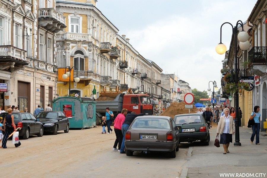 Radom. Ulica Żeromskiego w czasie remontu odcinka od ul. Witolda do pl. Konstytucji 3 Maja.
