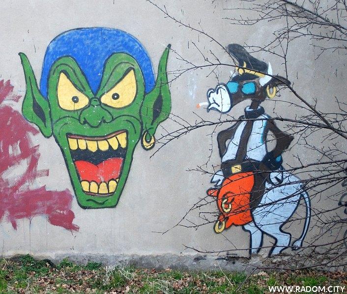 Radom. Graffiti przy ul. Placowej (za blokami na wysokości MacDonalda.