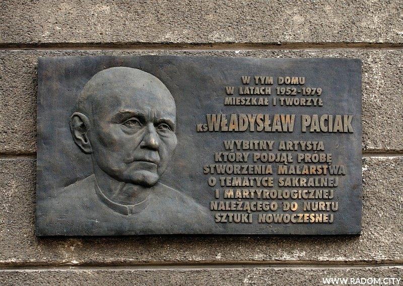 Radom. Tablica Władysława Paciaka - ul. Sienkiewicza 13.