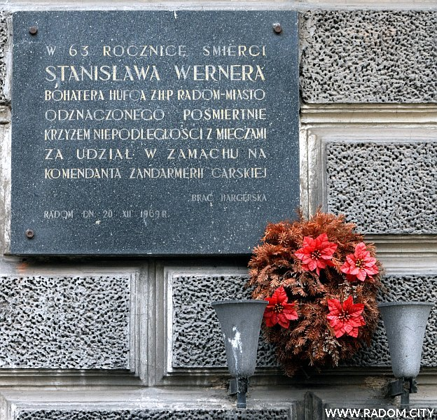 Radom. Tablica Stanisława Wernera - ul. Piłsudskiego 7.