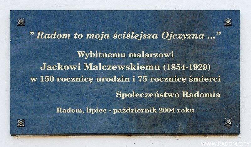Radom. Tablica Jacka Malczewskiego - Kolegium Pijarów.