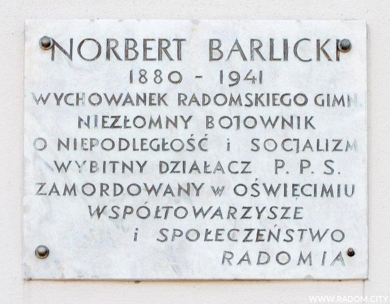 Radom. Tablica Norberta Barlickiego - Kolegium Pijarów.