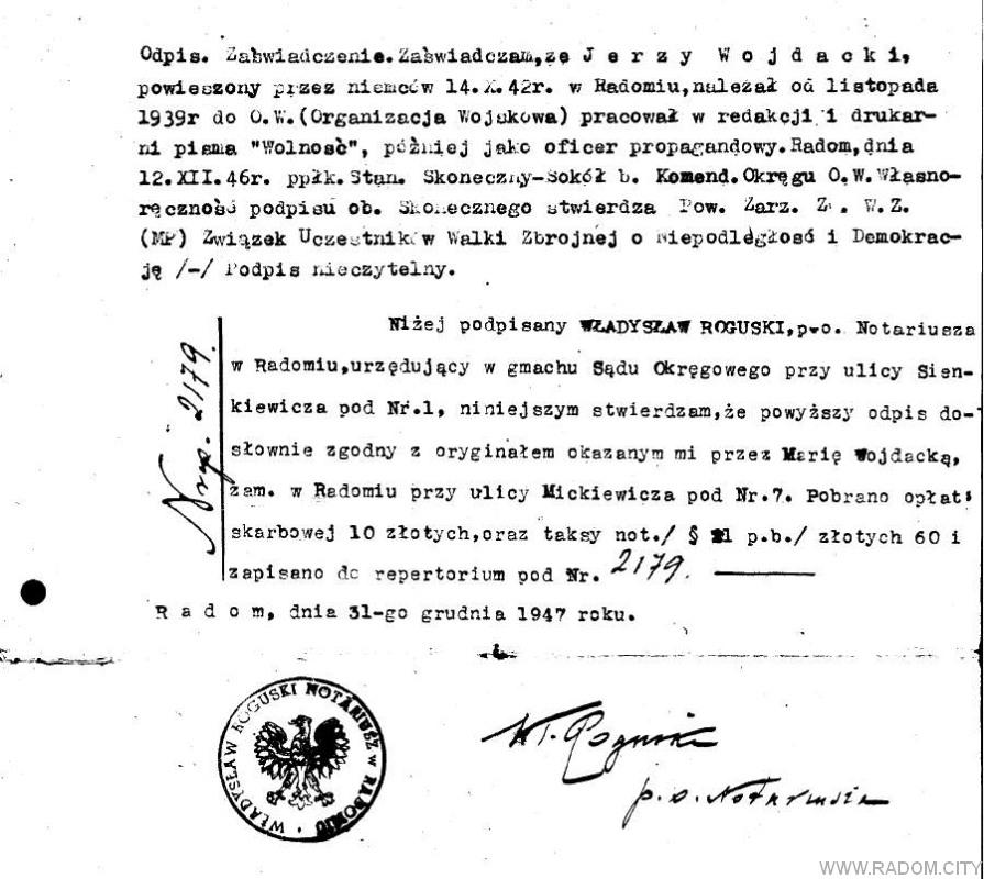 Radom. Plik związany z artykułem o Jerzym Wojdackim.