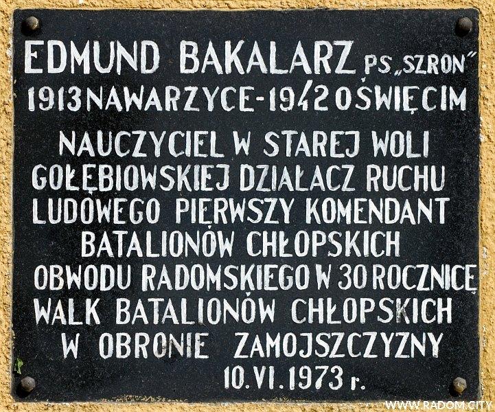 Radom. Tablica Edmunda Bakalarza na ścianie PSP nr 19 jego imienia.