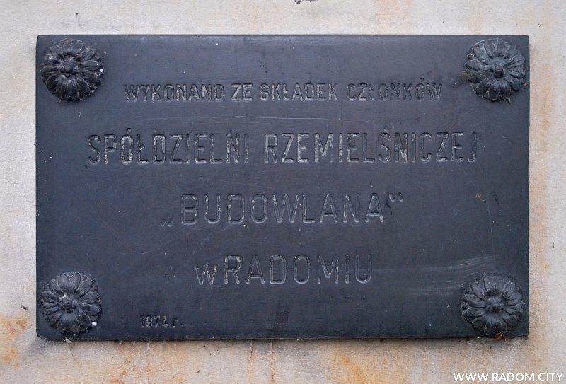 Radom. Pomnik Września 39 na cm. przy ul. Limanowskiego-tabliczka z prawej strony.