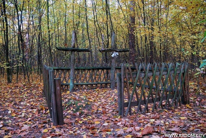 Radom. Groby w Lesie Kapturskim, na prawo od zielonego szlaku.