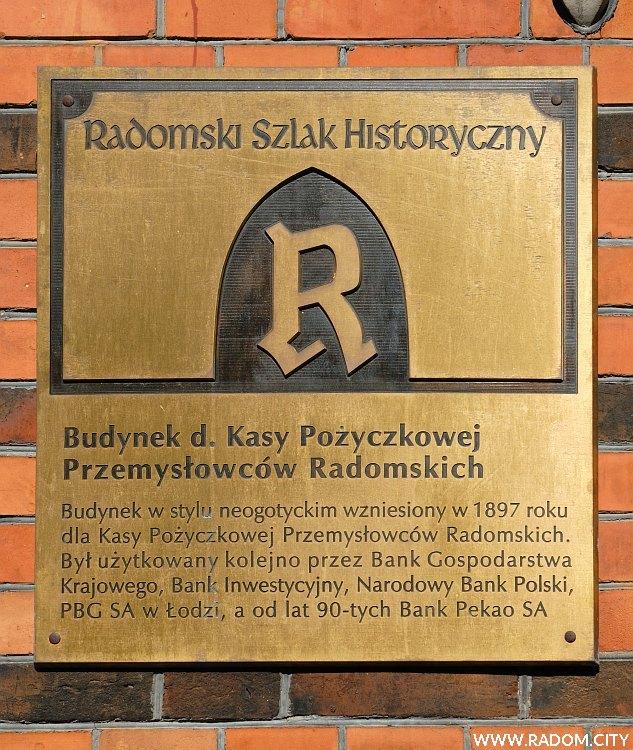 Radom. Piłsudskiego 15 - tablica.
