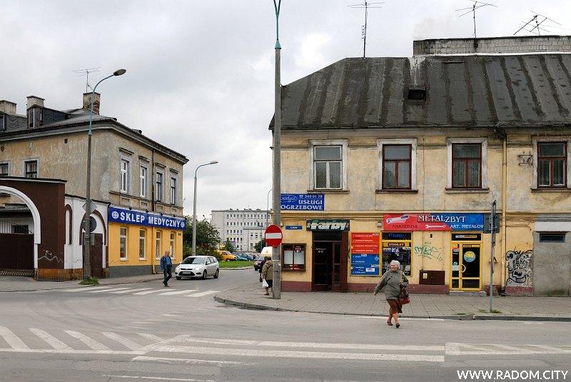 Radom. Ulica Lekarska, widok z ul. Wałowej.