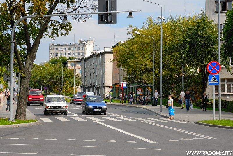Radom. Ulica Struga, widok ze skrzyżowania z ul. Żwirki i Wigury.