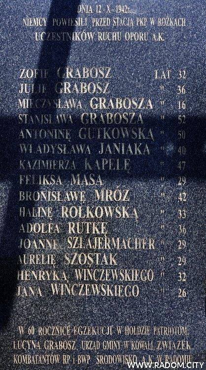 Radom. Pomnik w Rożkach.