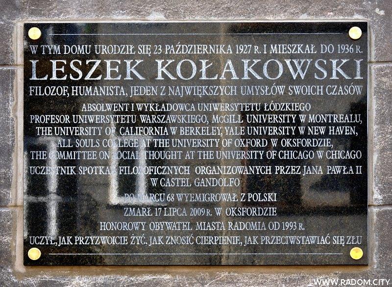 Radom. Tablica Leszka Kołakowskiego.