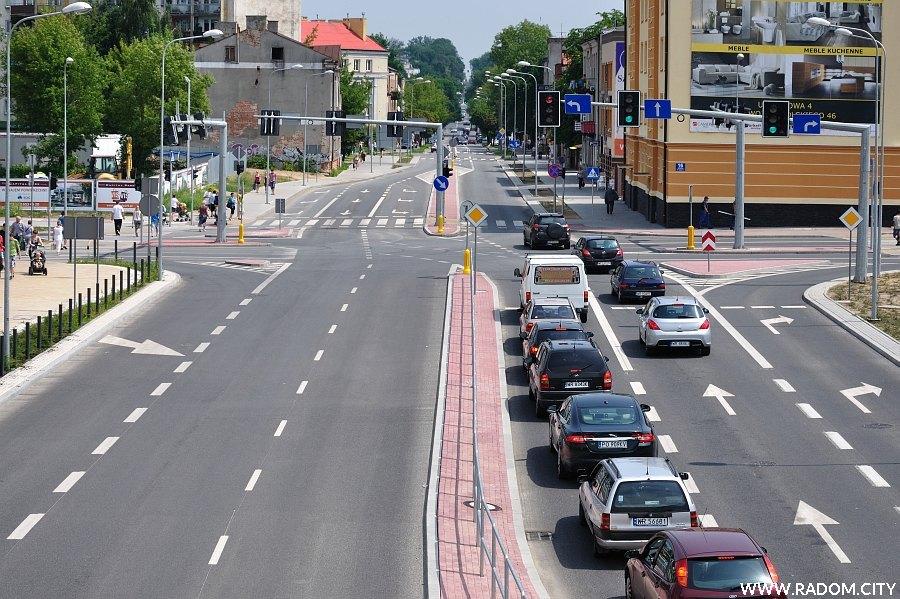 Radom. Ulica Struga widziana z kładki przy GS.