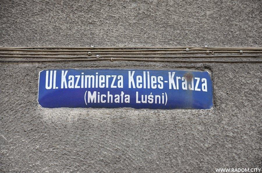 Radom. Tabliczka z nazwą ulicy Kelles-Krauza/Niedizałkowskiego.