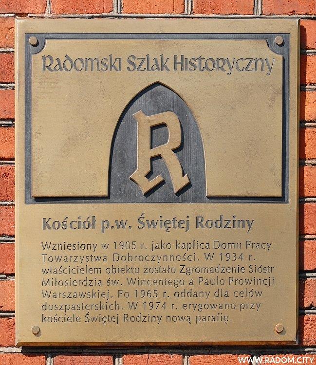 Radom. Radomski Szlak Historyczny/tablica - kościół przy Kelles-Krauza.