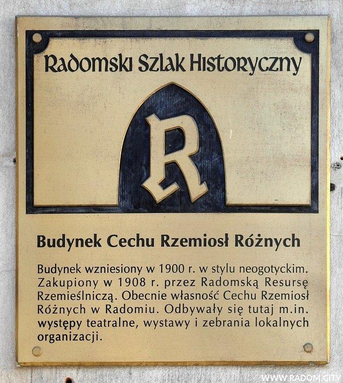 Radom. Radomski Szlak Historyczny/tablica - Cech Rzemiosł Różnych.