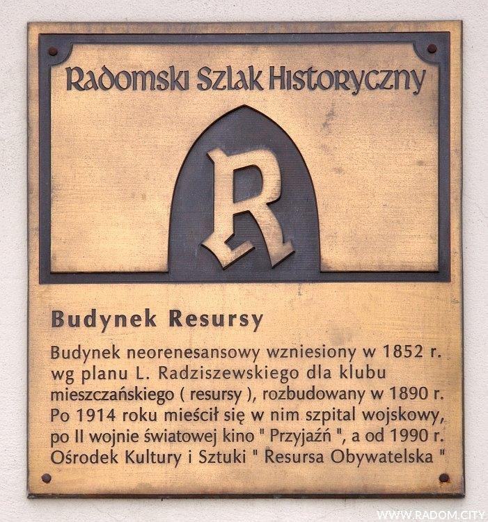 Radom. Radomski Szlak Historyczny/tablica - Resursa.