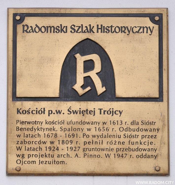 Radom. Radomski Szlak Historyczny/tablica - kościół Świętej Trójcy.