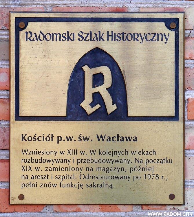 Radom. Radomski Szlak Historyczny/tablica - kościół św. Wacława.