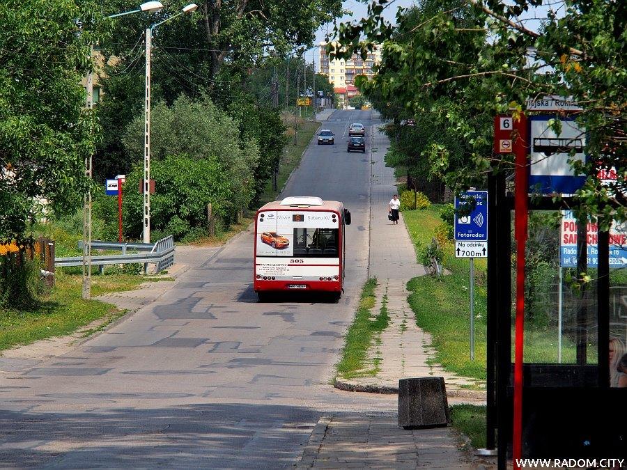 Radom. Ulica Wiejska przed ul. Rolniczą.