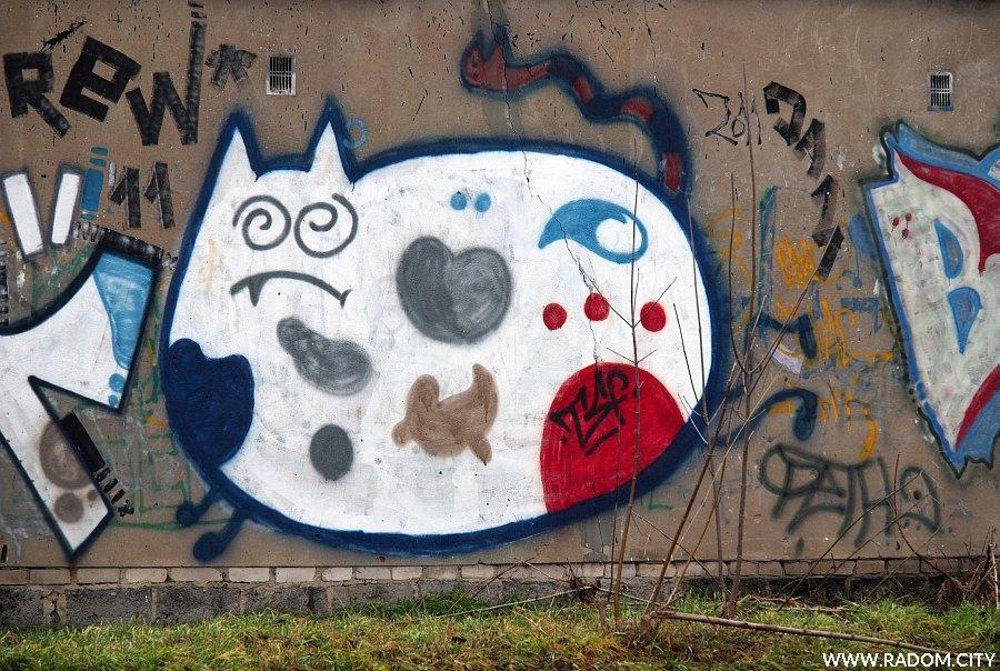 Radom. Graffiti - garaże Kusocińskiego/Malczewskiego.