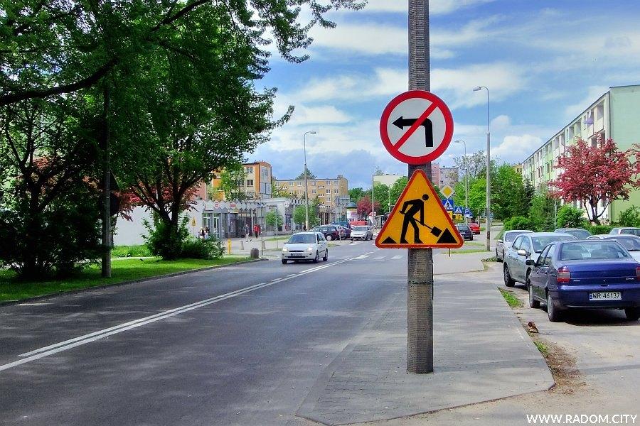 Radom. Ulica Kusocińskiego, widok na zachód sprzed skrzyżowania z ul. Miłą.