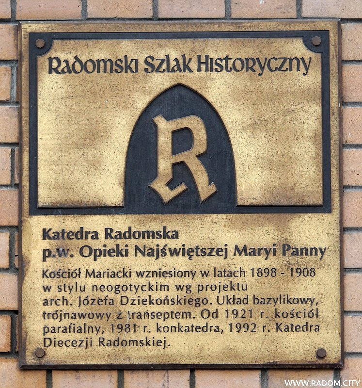 Radom. Katedra - tablica Radomskiego Szlaku Historycznego.