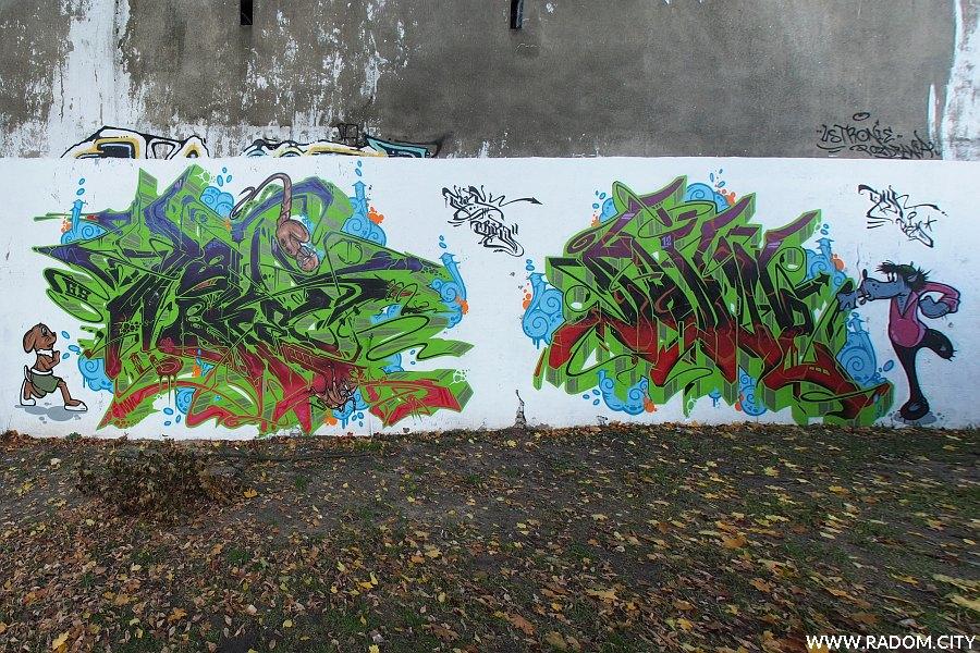 Radom. Graffiti wilk i zając - Staszica.