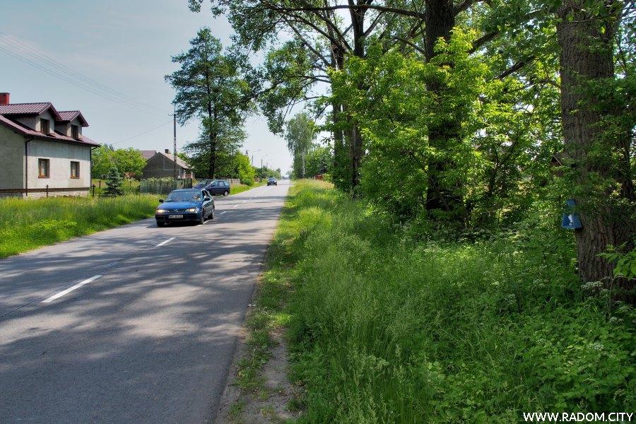 Radom. Ulica Stara Wola Gołębiowska, po prawej na drzewie kapliczki.