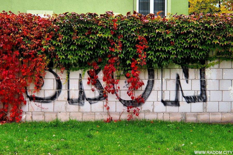 "Radom. ""BROŃ"" - graffiti przy ul. Cichej."