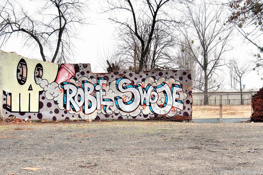 Radom. Graffiti na murze Impersonu.SEE