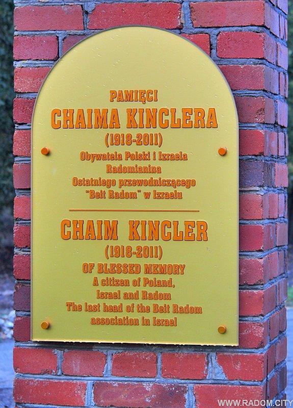 Radom. Tablica Chaima Kinclera.