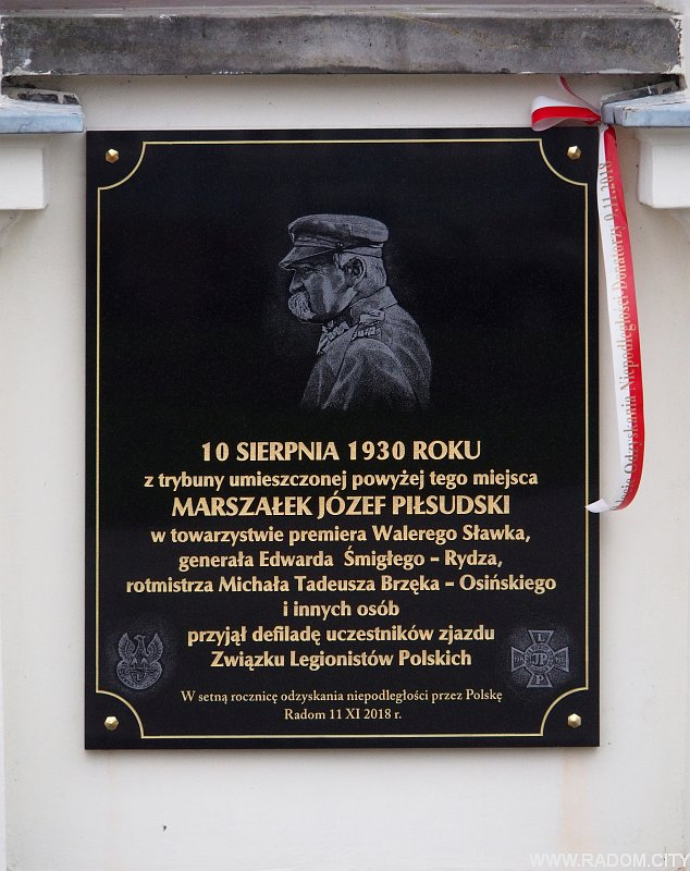 Radom. Tablica Józefa Piłsudskiego.